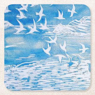 Dessous-de-verre Carré En Papier Art moderne d'aquarelle d'oiseaux bleus de côte
