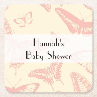 Dessous-de-verre Carré En Papier Baby shower - papillon (papillons) - pâlissez - le