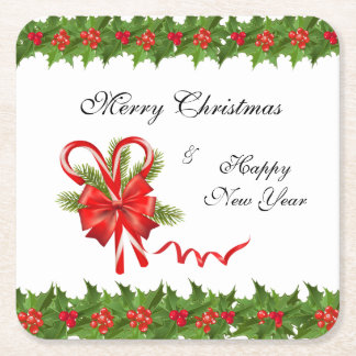 Dessous-de-verre Carré En Papier Baies Noël et sucres de canne de houx