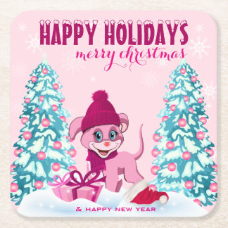 Dessous-de-verre Carré En Papier Bande dessinée adorable de chiot de Noël rose
