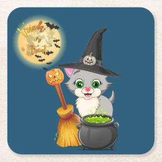 Dessous-de-verre Carré En Papier Bande dessinée grise de Halloween de chaton