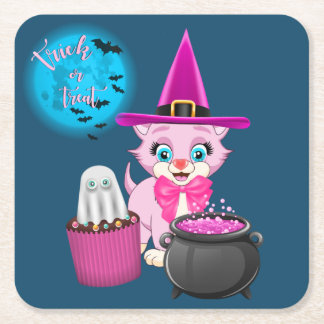Dessous-de-verre Carré En Papier Bande dessinée rose de Halloween de chaton