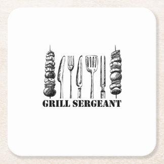 Dessous-de-verre Carré En Papier BBQ de sergent de gril grillant les femmes drôles