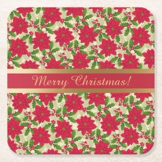 Dessous-de-verre Carré En Papier Belle poinsettia de Noël, houx, branche de pin