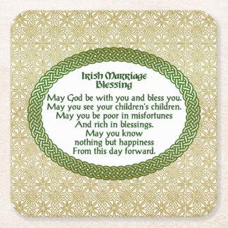 Dessous-de-verre Carré En Papier Bénédiction irlandaise de mariage, or et mariage