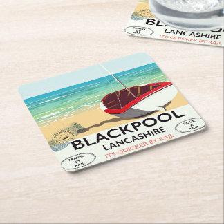 Dessous-de-verre Carré En Papier Blackpool, lancashire, affiche de rail
