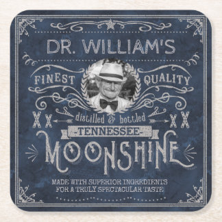 Dessous-de-verre Carré En Papier Bleu fait sur commande de médecine vintage de