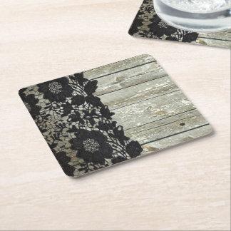 Dessous-de-verre Carré En Papier bois rustique de grange de dentelle noire de