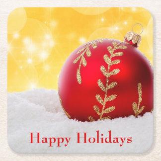 Dessous-de-verre Carré En Papier Boule de Noël de neige de Bokeh de Noël