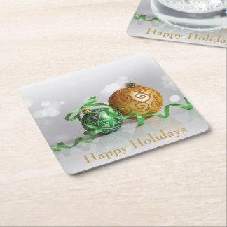 Dessous-de-verre Carré En Papier Boules de Noël de Bokeh de Noël