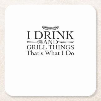 Dessous-de-verre Carré En Papier Cadeau de barbecue de BBQ drôle je bois et grille