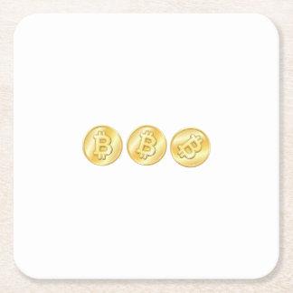 Dessous-de-verre Carré En Papier Cadeau drôle de femmes d'hommes de Bitcoin Btc