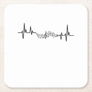 Dessous-de-verre Carré En Papier Cadeau musical de joueur de Heartbea de musique