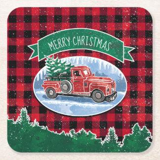 Dessous-de-verre Carré En Papier Camion de cru de Joyeux Noël