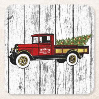 Dessous-de-verre Carré En Papier Camion vintage votre ferme d'arbre de Noël