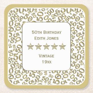 Dessous-de-verre Carré En Papier cinquantième Or de fête d'anniversaire/motif blanc