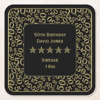 Dessous-de-verre Carré En Papier cinquantième Or de fête d'anniversaire/motif de