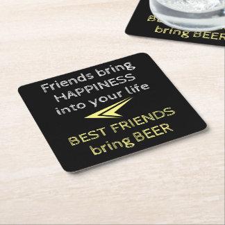 Dessous-de-verre Carré En Papier Citation de bière de meilleurs amis