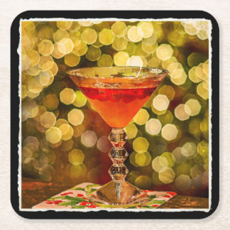 Dessous-de-verre Carré En Papier Cocktail de vacances avec des lumières