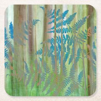Dessous-de-verre Carré En Papier Collage des fougères et de la forêt | Seabeck, WA
