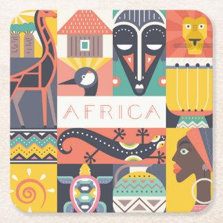 Dessous-de-verre Carré En Papier Collage symbolique africain d'art