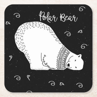 Dessous-de-verre Carré En Papier Conception mignonne d'ours blanc en noir et blanc