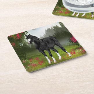 Dessous-de-verre Carré En Papier Copie Arabe noire de cheval