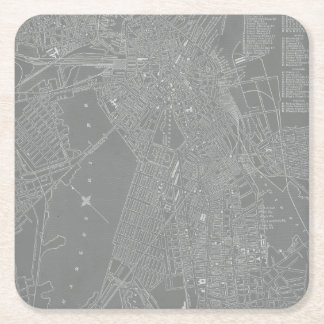Dessous-de-verre Carré En Papier Croquis de carte de ville de Boston