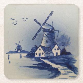 Dessous-de-verre Carré En Papier Cru bleu de moulin à vent de Delft