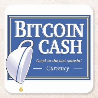 Dessous-de-verre Carré En Papier Dessous de verre d'argent liquide de Bitcoin