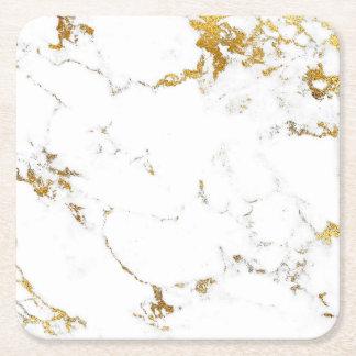 Dessous-de-verre Carré En Papier Dessous de verre de carré d'abrégé sur marbre d'or