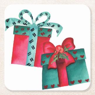 Dessous-de-verre Carré En Papier Dessous de verre de papier de cadeaux de Noël