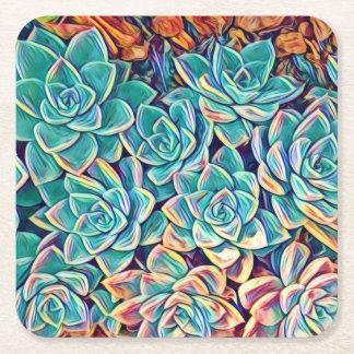Dessous-de-verre Carré En Papier Dessous de verre de papier de Succulents stylisés