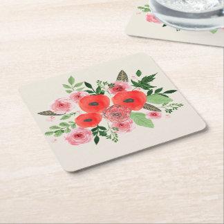 Dessous-de-verre Carré En Papier Dessous de verre de papier floraux de vacances