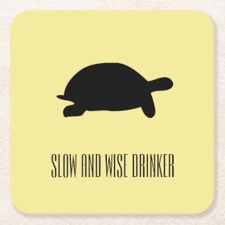 Dessous-de-verre Carré En Papier Dessous de verre lents et sages de tortue géniale