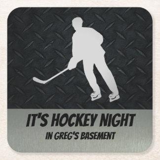 Dessous-de-verre Carré En Papier Dessous de verre personnalisés de nuit d'hockey