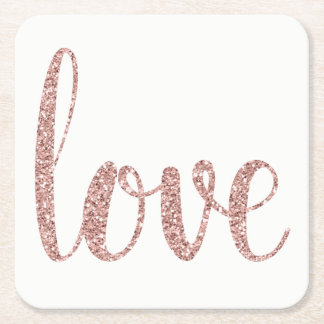 Dessous-de-verre Carré En Papier Dessous de verre roses d'amour de scintillement