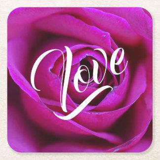 Dessous-de-verre Carré En Papier Dessous de verre roses de panneau de Pub d'amour