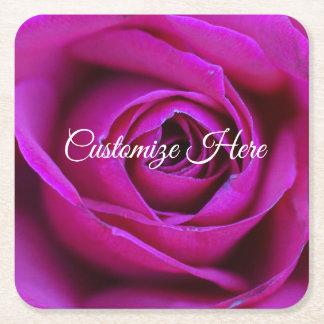 Dessous-de-verre Carré En Papier Dessous de verre roses personnalisés de panneau de