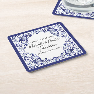 Dessous-de-verre Carré En Papier Dîner de mariage néerlandais bleu de Delfts Blauw