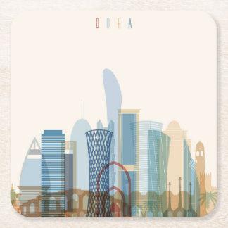 Dessous-de-verre Carré En Papier Doha, horizon de ville du Qatar |