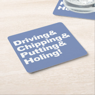 Dessous-de-verre Carré En Papier Driving&Chipping&Putting&Holing (blanc)