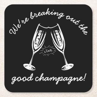 Dessous-de-verre Carré En Papier Éclatement de la BONNE partie drôle de Champagne