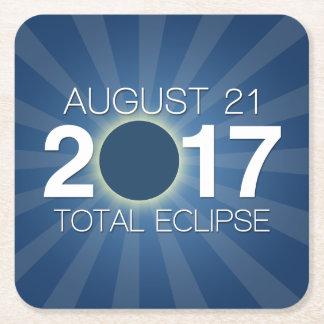 Dessous-de-verre Carré En Papier Éclipse solaire totale 2017 - conception bleue