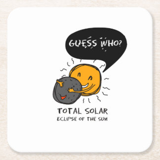 Dessous-de-verre Carré En Papier Éclipse solaire totale de la conjecture de Sun qui