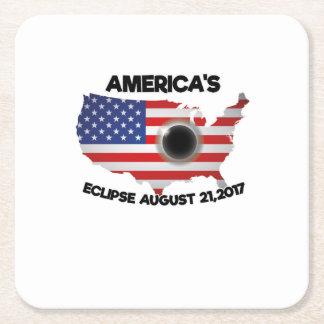Dessous-de-verre Carré En Papier Éclipse solaire totale de l'ÉCLIPSE 08-21-2017 de