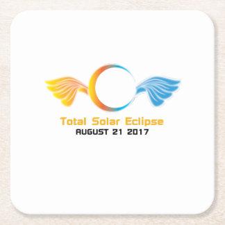 Dessous-de-verre Carré En Papier Éclipse solaire totale le 21 août 2017