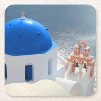 Dessous-de-verre Carré En Papier Église de Santorini pendant l'après-midi Sun