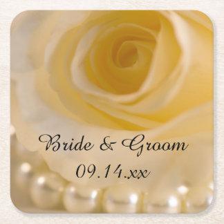 Dessous-de-verre Carré En Papier Épouser de rose blanc et de perles
