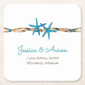Dessous-de-verre Carré En Papier Étoiles de mer d'Aqua et mariage de corde
